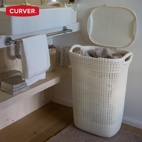 [送料無料対象外]洗濯かご ランドリーバスケット おしゃれ 大容量「カーバー (CURVER) ニット ランドリー ハンパー 57L(KNIT LAUNDRY HAMPER 57L)」