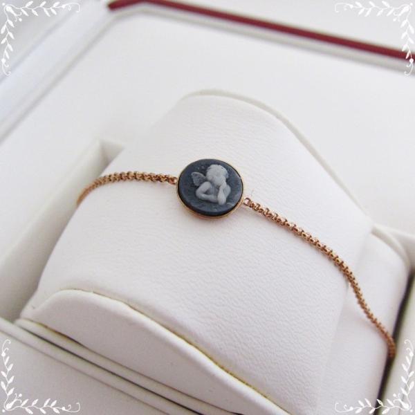 カメオ ブレスレット レディース ピンクゴールド エンジェルモチーフ 円型|juillet17