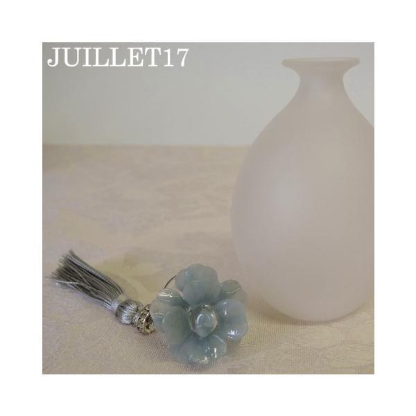 ムラーノガラス 香水瓶L グレー・フラワー|juillet17