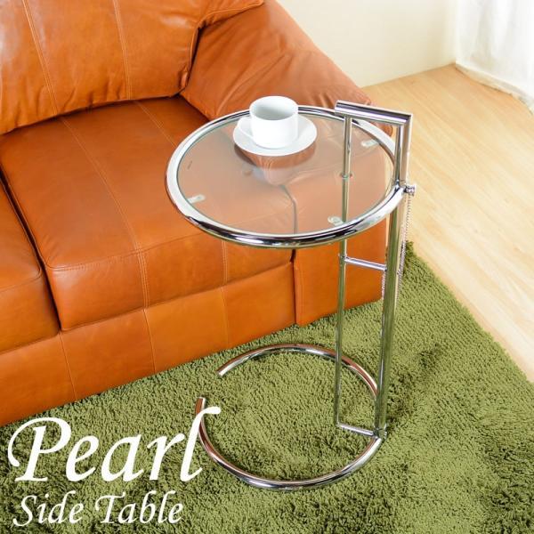 サイドテーブルガラスシルバーナイトテーブルデザイナーズアイリーングレイナイトテーブルミニテーブルベッドサイド北欧丸ガラス昇降