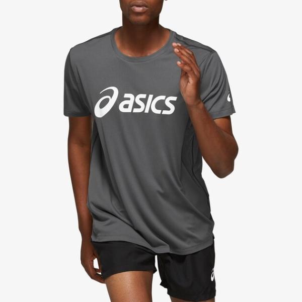 アシックス ランニング Tシャツ(半袖) 海外モデル メンズ 銀色・シルバー スリーブ Tシャツ  T-Shirt - Men¥'s ASICS SILVER