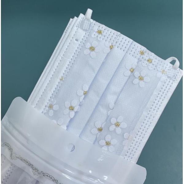 マスク使い捨て花柄レディースおしゃれレース柄感染予防不織布4層構造3D個性的50枚大人用きれいめプリント柄マスク母の日ギフト安い