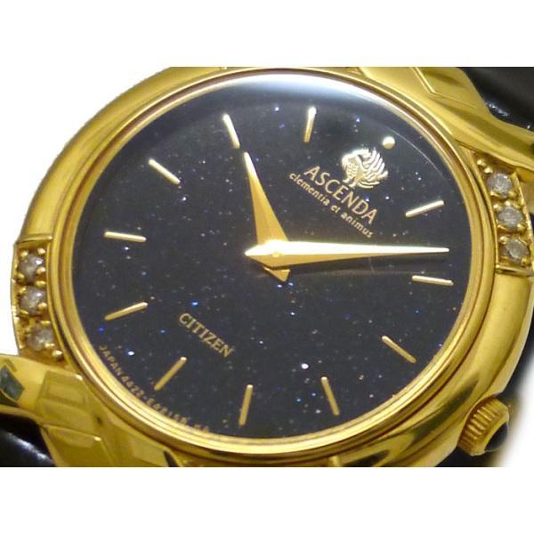 CITIZEN シチズン レディース腕時計 アセンダ K18YG(18K/750刻印)×レザー メレダイヤ クオーツ ブラック文字盤 ラメ入り