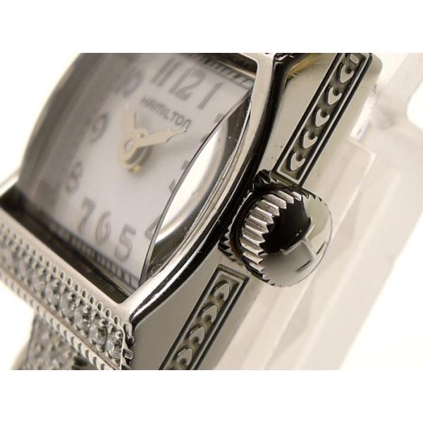 【中古】ハミルトン アメリカンクラシック レディ ハミルトン ヴィンテージ レディース腕時計 SS クオーツ 32Pダイヤ ホワイトシェル文字盤 H31291113