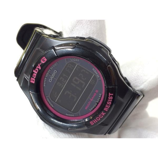 f645ec7061 ... 中古】カシオ ベビージー レディース腕時計 トリッパー BGD-1310 電波ソーラー デジタル ブラック/ ...