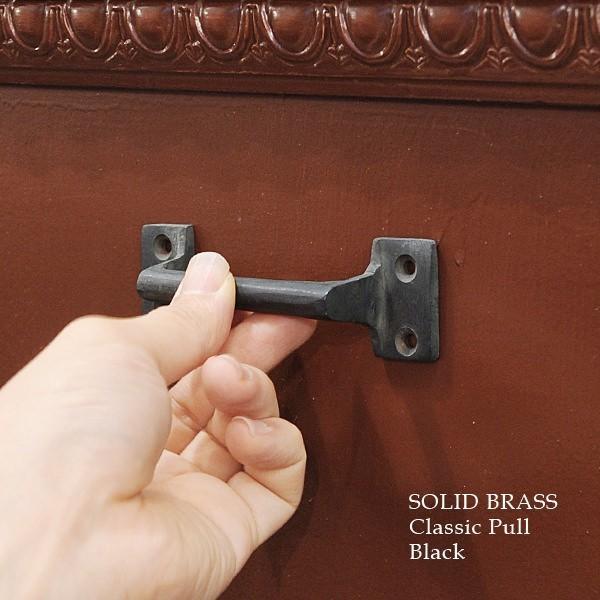 真鍮 ドア ハンドル 引き戸 取っ手 金具 レトロ 引き出し 扉 つまみ ツマミ アンティーク調 DIY ソリッドブラス クラシックプル BK