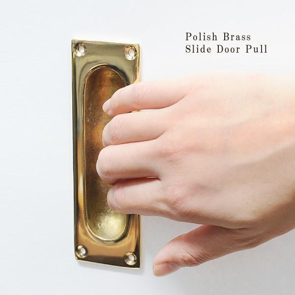 真鍮 ドア ハンドル 引き戸 取っ手 金具 レトロ 引き出し 扉 つまみ ツマミ アンティーク調 DIY ポリッシュブラス スライド ドアプル