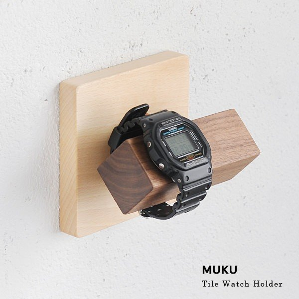 腕時計収納おしゃれハンガー木製壁掛けレトロアンティーク調MUKUタイル腕時計ホルダー