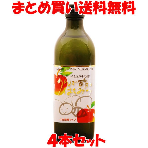バーモント酢 マルシマ りんご酢とはちみつ 500ml×4本セット まとめ買い送料無料