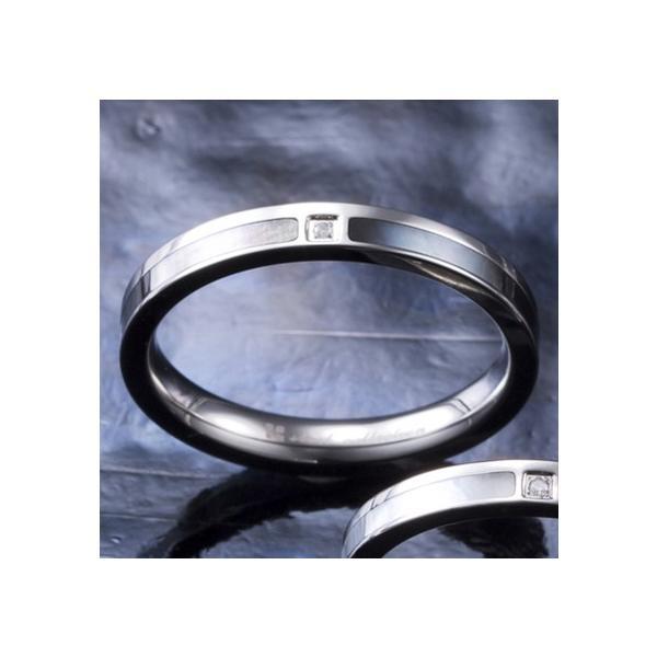 送料無料 シェル×ダイヤモンドステンレスリング/ブラック4SUR007BK/刻印可能/white clover/ホワイトクローバー sale|juraice|02