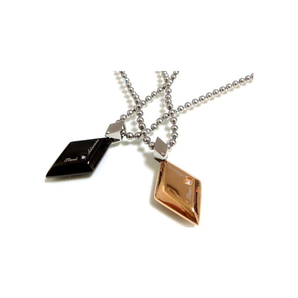 ペアネックレス ダイヤモンド ブラック ペンダント ピンク ステンレス SteelAdamas 年度末 sale|juraice|02