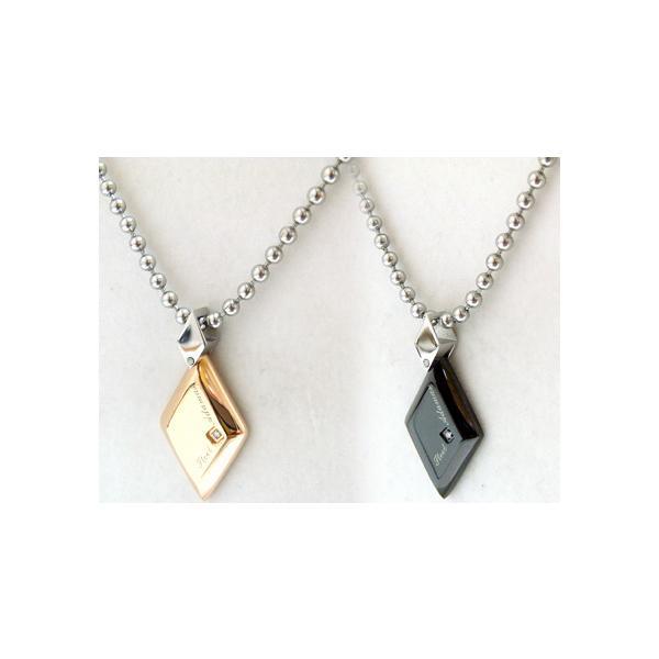 ペアネックレス ダイヤモンド ブラック ペンダント ピンク ステンレス SteelAdamas 年度末 sale|juraice|03
