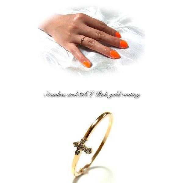 リング レディース 指輪 クロス ピンクゴールド ステンレス ピンキー ダイヤモンドCZ キュービックジルコニア アレルギー ju8 年度末 sale|juraice|02