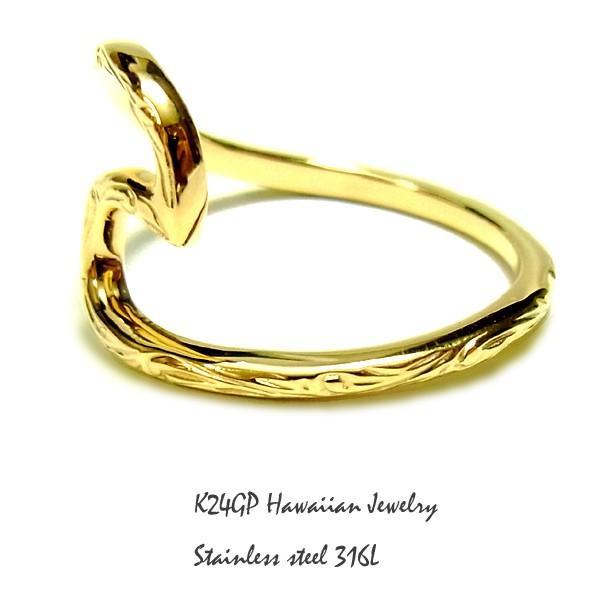 ハワイアンジュエリー リング K24gp  24kgp K24gp  K24  イエローゴールド メンズ レディ−ス プルメリア スクロール  記念日 誕生日  sale|juraice|05