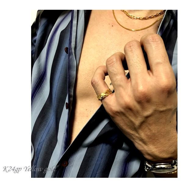 ハワイアンジュエリー リング レディース メンズ スクロール プルメリア K24ゴールドコーティング ピンクゴールド ブラック プレゼント ギフト インスタ|juraice|05