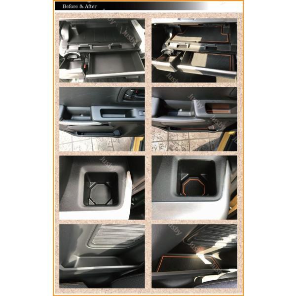 スズキ スペーシア(カスタム・ギア)専用インテリアラバーマット (白or赤orアンバーオレンジ)ドアポケットマット フロアマット SUZUKI SPACIA パーツ|jusby-auto|11