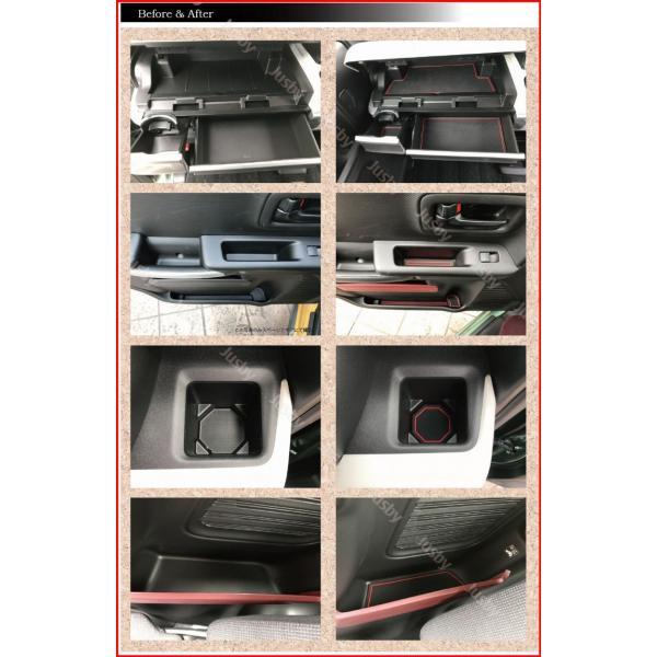スズキ スペーシア(カスタム・ギア)専用インテリアラバーマット (白or赤orアンバーオレンジ)ドアポケットマット フロアマット SUZUKI SPACIA パーツ|jusby-auto|08