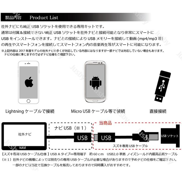 スズキ イグニス(IGNIS) 専用 USBソケット &ケーブルセット 充電やナビ取付けに!専用パーツ アクセサリー SUZUKI (FF21S) 純正品番39105-62R10-AQS|jusby-auto|03