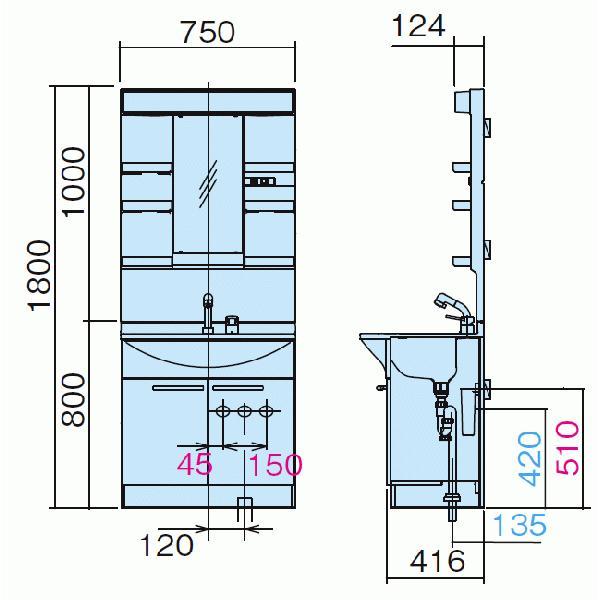 洗面化粧台 エムライン ミラー蛍光灯1面鏡 くもりシャット付 750mm シングルレバーシャワー混合水栓 jusetsuhills 02