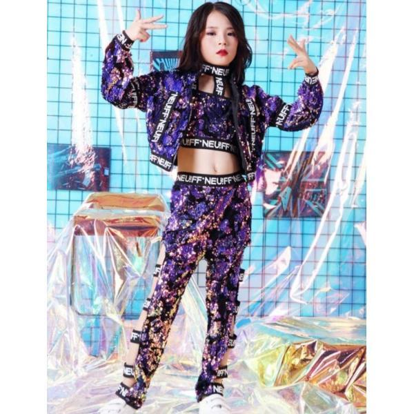 キッズダンス衣装 セットアップ スパンコール衣装 派手 チアダンス 衣装 セットアップ HIPHOP ヒップホップダンス衣装 ヒップホップダンスパンツ|just-for-you|05