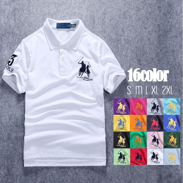 ポロシャツ メンズ 無地 刺繍入り 綿100% 柔らかい カラフル 16色展開 ゴルフウェア カジュアル 夏新作|justmode