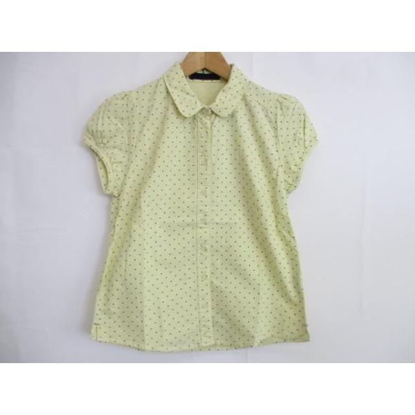 良品アーノルドパーマータイムレスArnoldPalmerTimeless半袖シャツ夏物2黄イエロードットパフスリーブ綿コッ