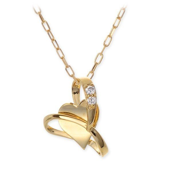 ゴールド ネックレス ダイヤモンド ハート 彼女 誕生日プレゼント 記念日 ギフトラッピング あすつく スウィートローズ  送料無料 jwell