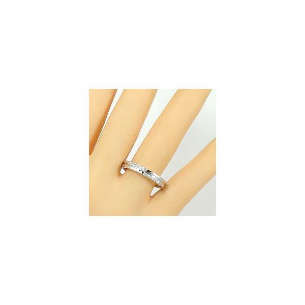 結婚指輪 クロス ダイヤモンド マリッジリング ピンクゴールドK10 ホワイトゴールドK10 人気 ペアリング 十字架 10金