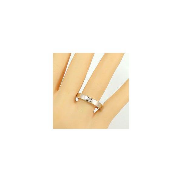結婚指輪 クロス ダイヤモンド マリッジリング イエローゴールドK18 ペアリング 18金 十字架 指輪