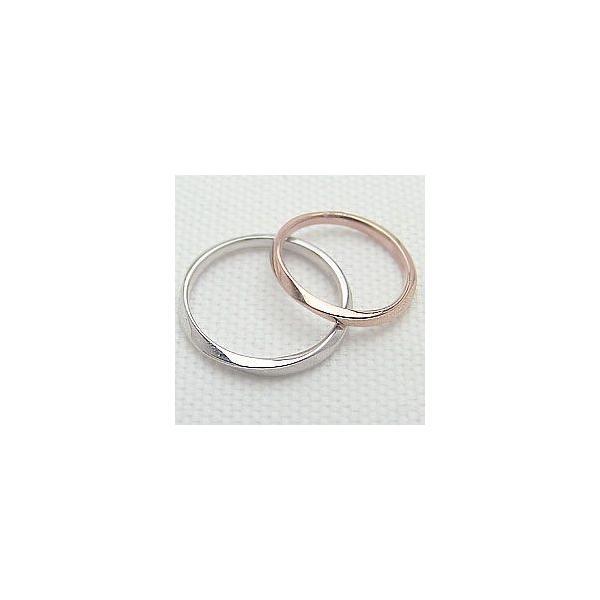 結婚指輪 マリッジリング シンプルデザイン ピンクゴールドK18 ホワイトゴールドK18 ペアリング 2本セット 18金