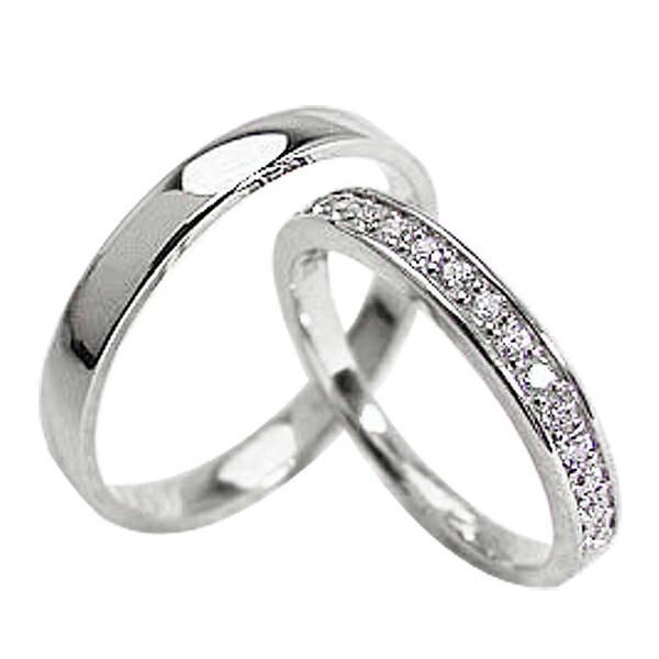 結婚指輪 ダイヤペアリング エタニティリング ホワイトゴールドK10 ダイヤモンド マリッジリング 10金  カップル ホワイトデー プレゼント