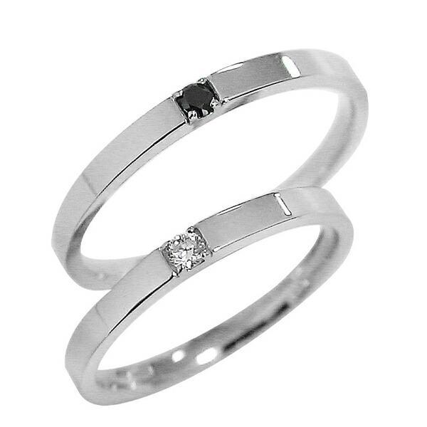 結婚指輪 ホワイトゴールドK10 ダイヤモンド ブラックダイヤ ペアリング マリッジリング  カップル ホワイトデー プレゼント