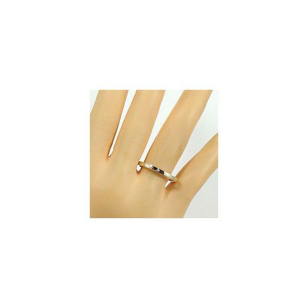 結婚指輪 一粒 ダイヤモンド シンプル ストレート マリッジリング イエローゴールドK10 ペアリング 10金
