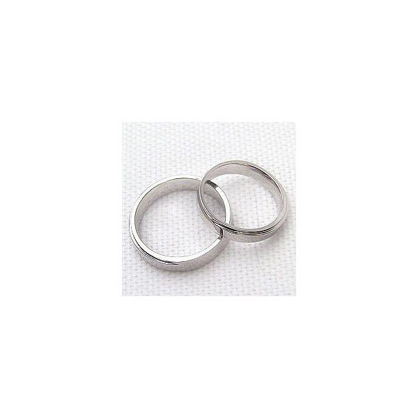 結婚指輪 段差デザイン 幅広 マリッジリング ホワイトゴールドK18 ペアリング 18金
