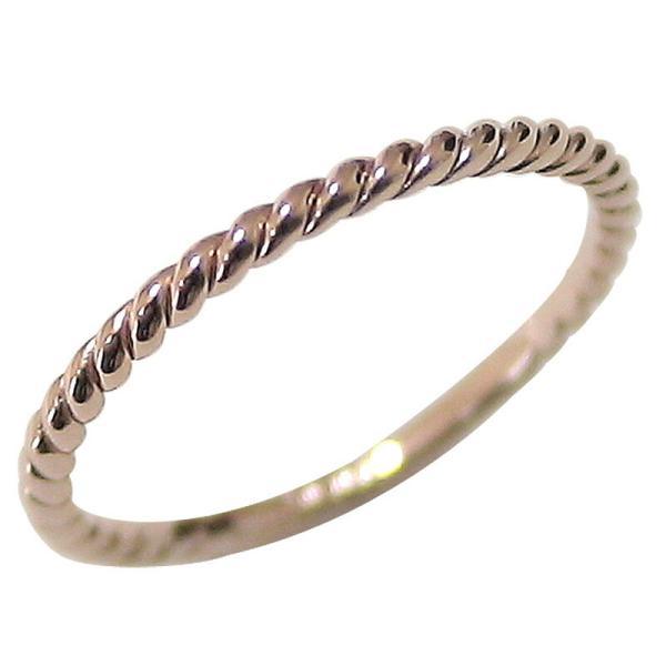 指輪 レディース ピンキーリング 指輪 ピンキーリング ツイストリング ピンクゴールドK10 シンプルリング ホワイトデー プレゼント