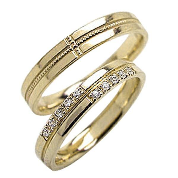 結婚指輪 クロス ダイヤモンド ミル打ち マリッジリング イエローゴールドK10 ペアリング 十字架 2本セット