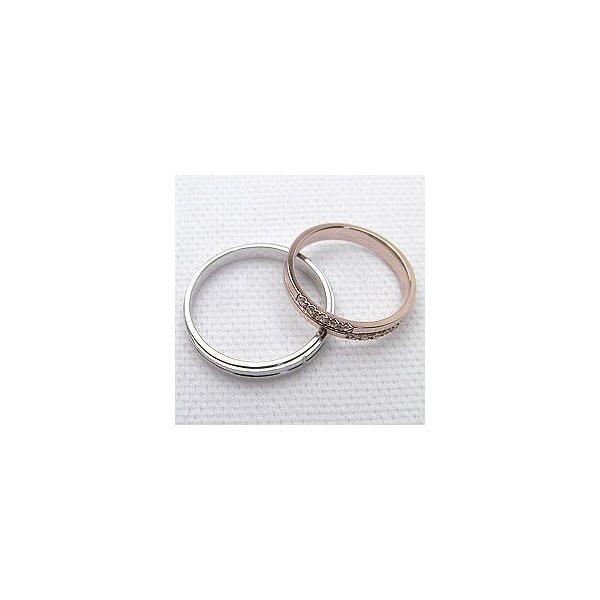 結婚指輪 クロス ダイヤモンド マリッジリング ピンクゴールドK18 ホワイトゴールドK18 ペアリング 十字架 2本セット