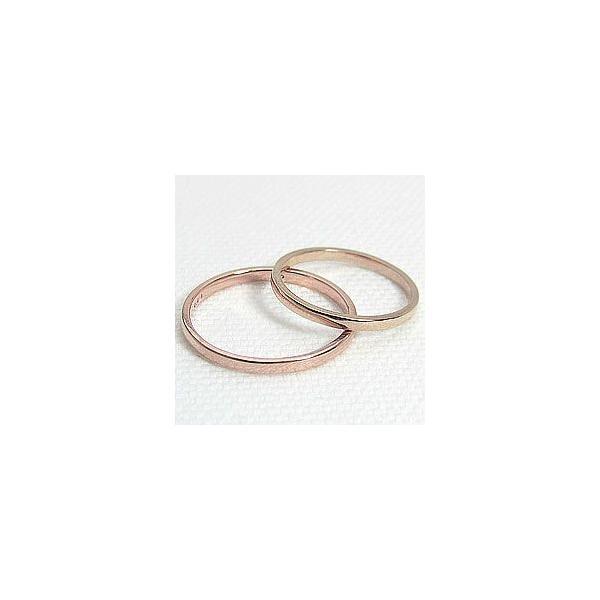 結婚指輪 一粒ダイヤモンド シンプル ストレート マリッジリング ピンクゴールドK18 ペアリング 2本セット