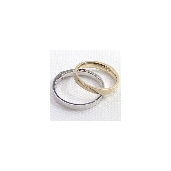 結婚指輪 一粒 ダイヤモンド 0.1ct マリッジリング イエローゴールドK18 ホワイトゴールドK18 ペアリング