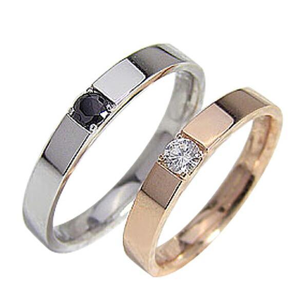 結婚指輪 一粒 ダイヤモンド ブラックダイヤモンド 0.1ct マリッジリング ピンクゴールドK18 ホワイトゴールドK18 ペアリング