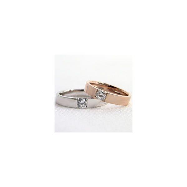 結婚指輪 一粒ダイヤモンド ブラックダイヤモンド ペアリング ピンクゴールドK10 ホワイトゴールドK10 マリッジリング  カップル ホワイトデー プレゼント