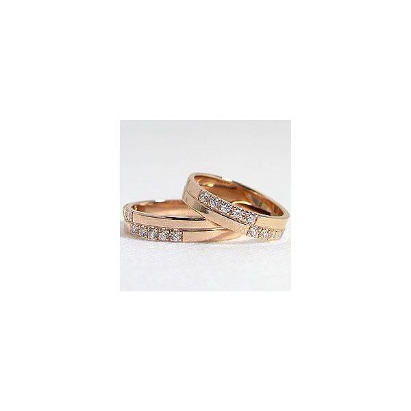 結婚指輪 クロス ダイヤモンド ペアリング ピンクゴールドK10 マリッジリング  カップル ホワイトデー プレゼント