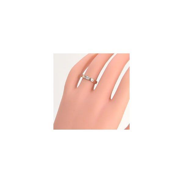 結婚指輪 一粒ダイヤモンド 平打ち マリッジリング ピンクゴールドK18 ホワイトゴールドK18 ペアリング