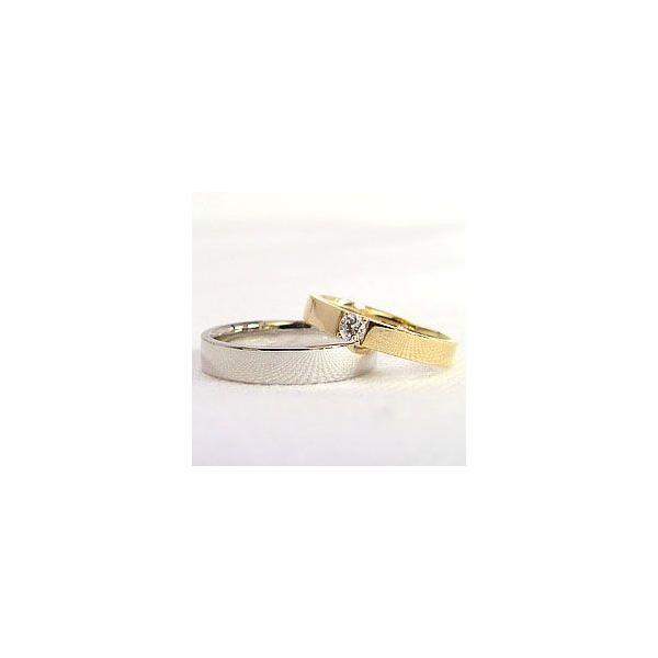 結婚指輪 一粒ダイヤモンド 平打ち マリッジリング イエローゴールドK10 ホワイトゴールドK10 ペアリング