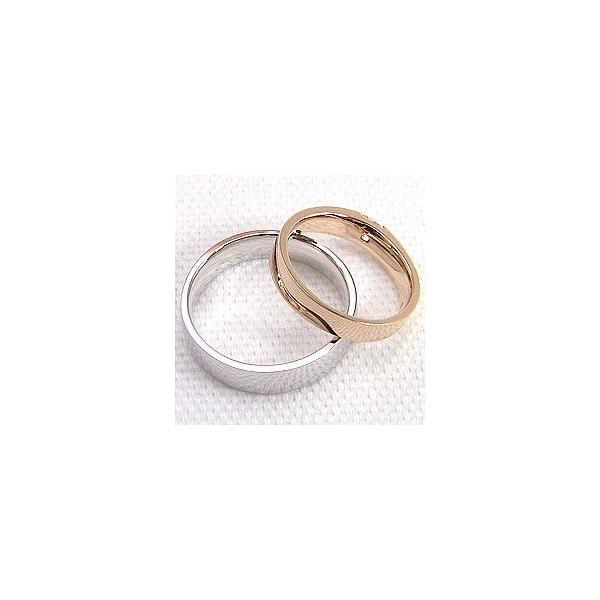 結婚指輪 一粒ダイヤモンド 0.2ct 平打ち マリッジリング ピンクゴールドK10 ホワイトゴールドK10 ペアリング