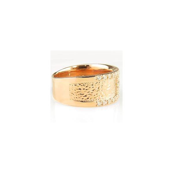 18金 リング 天然 ダイヤモンド 指輪 幅広 大人ジュエリー  豪華 ゴージャス ホワイトデー プレゼント