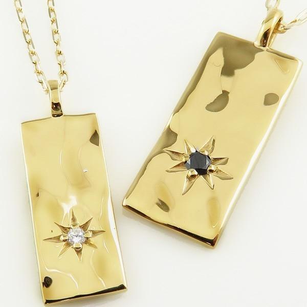 ペアネックレス ゴールド 一粒 ダイヤモンド ブラックダイヤモンド 長方形 K18 ペンダント 2個セット カップル ホワイトデー プレゼント