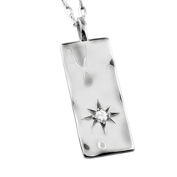 メンズネックレス プラチナ 長方形 モチーフ Pt900 Pt850 一粒 ダイヤモンド ペンダント アズキチェーン 50cm|jwl-i