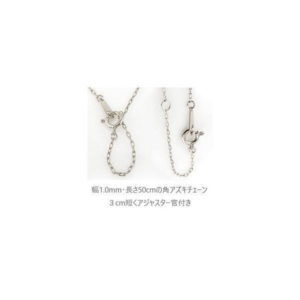 メンズネックレス プラチナ 長方形 モチーフ Pt900 Pt850 一粒 ダイヤモンド ペンダント アズキチェーン 50cm|jwl-i|04