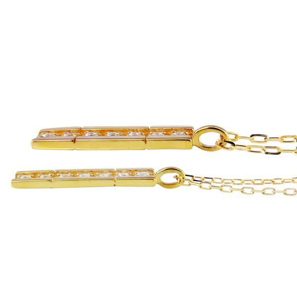ペアネックレス ゴールド ダイヤモンド 7石 ストレート 18金 K18 ゴールド ダイヤネックレス ペンダント 2個セット カップル ホワイトデー プレゼント